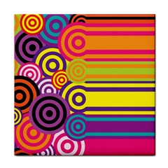 Retro Circles And Stripes Colorful 60s And 70s Style Circles And Stripes Background Tile Coasters