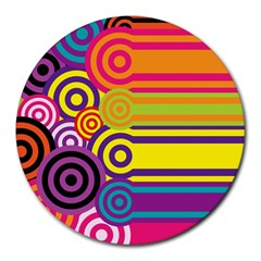 Retro Circles And Stripes Colorful 60s And 70s Style Circles And Stripes Background Round Mousepads