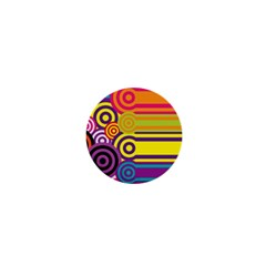 Retro Circles And Stripes Colorful 60s And 70s Style Circles And Stripes Background 1  Mini Magnets