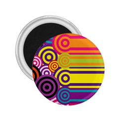 Retro Circles And Stripes Colorful 60s And 70s Style Circles And Stripes Background 2 25  Magnets