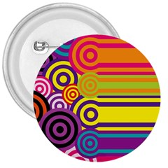 Retro Circles And Stripes Colorful 60s And 70s Style Circles And Stripes Background 3  Buttons