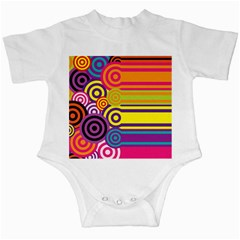 Retro Circles And Stripes Colorful 60s And 70s Style Circles And Stripes Background Infant Creepers