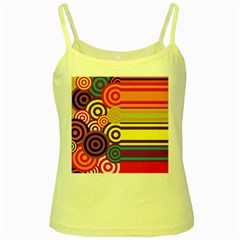 Retro Circles And Stripes Colorful 60s And 70s Style Circles And Stripes Background Yellow Spaghetti Tank