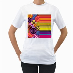 Retro Circles And Stripes Colorful 60s And 70s Style Circles And Stripes Background Women s T Shirt (white) (two Sided)