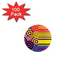 Retro Circles And Stripes Colorful 60s And 70s Style Circles And Stripes Background 1  Mini Magnets (100 Pack)