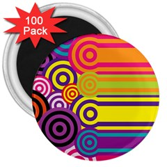 Retro Circles And Stripes Colorful 60s And 70s Style Circles And Stripes Background 3  Magnets (100 Pack)