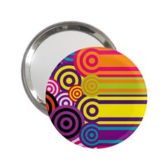 Retro Circles And Stripes Colorful 60s And 70s Style Circles And Stripes Background 2 25  Handbag Mirrors