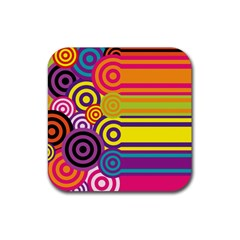 Retro Circles And Stripes Colorful 60s And 70s Style Circles And Stripes Background Rubber Coaster (square)