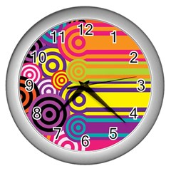 Retro Circles And Stripes Colorful 60s And 70s Style Circles And Stripes Background Wall Clocks (Silver)