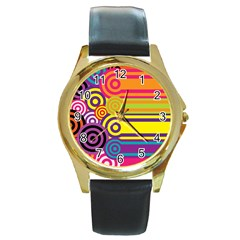 Retro Circles And Stripes Colorful 60s And 70s Style Circles And Stripes Background Round Gold Metal Watch