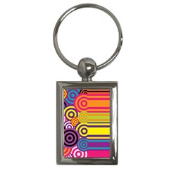Retro Circles And Stripes Colorful 60s And 70s Style Circles And Stripes Background Key Chains (rectangle)