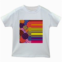 Retro Circles And Stripes Colorful 60s And 70s Style Circles And Stripes Background Kids White T Shirts
