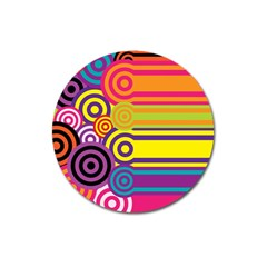 Retro Circles And Stripes Colorful 60s And 70s Style Circles And Stripes Background Magnet 3  (round)