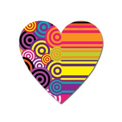 Retro Circles And Stripes Colorful 60s And 70s Style Circles And Stripes Background Heart Magnet