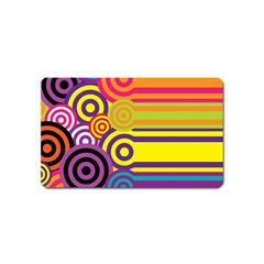 Retro Circles And Stripes Colorful 60s And 70s Style Circles And Stripes Background Magnet (name Card)