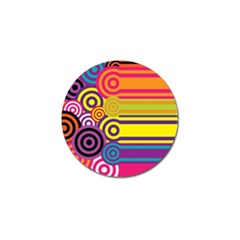 Retro Circles And Stripes Colorful 60s And 70s Style Circles And Stripes Background Golf Ball Marker