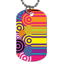 Retro Circles And Stripes Colorful 60s And 70s Style Circles And Stripes Background Dog Tag (two Sides)