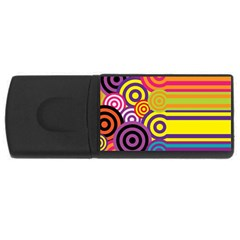 Retro Circles And Stripes Colorful 60s And 70s Style Circles And Stripes Background USB Flash Drive Rectangular (1 GB)