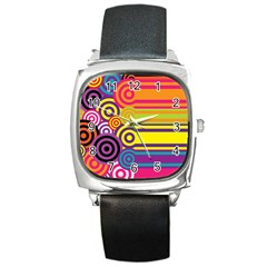 Retro Circles And Stripes Colorful 60s And 70s Style Circles And Stripes Background Square Metal Watch