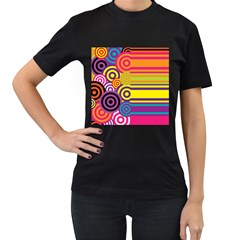 Retro Circles And Stripes Colorful 60s And 70s Style Circles And Stripes Background Women s T-Shirt (Black) (Two Sided)