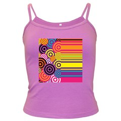 Retro Circles And Stripes Colorful 60s And 70s Style Circles And Stripes Background Dark Spaghetti Tank
