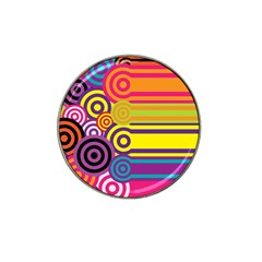 Retro Circles And Stripes Colorful 60s And 70s Style Circles And Stripes Background Hat Clip Ball Marker (4 pack)