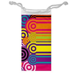 Retro Circles And Stripes Colorful 60s And 70s Style Circles And Stripes Background Jewelry Bag