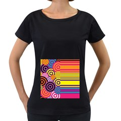 Retro Circles And Stripes Colorful 60s And 70s Style Circles And Stripes Background Women s Loose-Fit T-Shirt (Black)