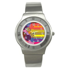 Retro Circles And Stripes Colorful 60s And 70s Style Circles And Stripes Background Stainless Steel Watch