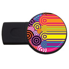 Retro Circles And Stripes Colorful 60s And 70s Style Circles And Stripes Background Usb Flash Drive Round (4 Gb)