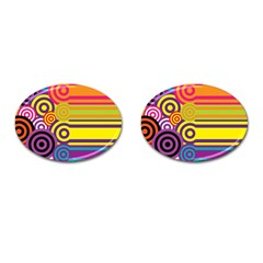 Retro Circles And Stripes Colorful 60s And 70s Style Circles And Stripes Background Cufflinks (Oval)