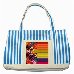 Retro Circles And Stripes Colorful 60s And 70s Style Circles And Stripes Background Striped Blue Tote Bag