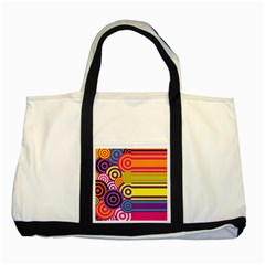 Retro Circles And Stripes Colorful 60s And 70s Style Circles And Stripes Background Two Tone Tote Bag