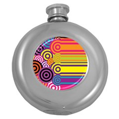 Retro Circles And Stripes Colorful 60s And 70s Style Circles And Stripes Background Round Hip Flask (5 Oz)