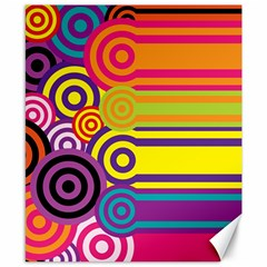 Retro Circles And Stripes Colorful 60s And 70s Style Circles And Stripes Background Canvas 8  X 10