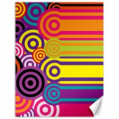 Retro Circles And Stripes Colorful 60s And 70s Style Circles And Stripes Background Canvas 18  X 24