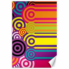 Retro Circles And Stripes Colorful 60s And 70s Style Circles And Stripes Background Canvas 24  X 36