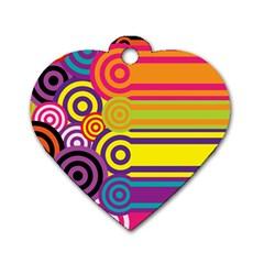 Retro Circles And Stripes Colorful 60s And 70s Style Circles And Stripes Background Dog Tag Heart (one Side)