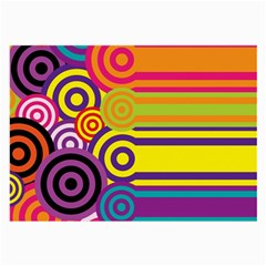 Retro Circles And Stripes Colorful 60s And 70s Style Circles And Stripes Background Large Glasses Cloth