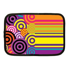 Retro Circles And Stripes Colorful 60s And 70s Style Circles And Stripes Background Netbook Case (medium)