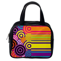 Retro Circles And Stripes Colorful 60s And 70s Style Circles And Stripes Background Classic Handbags (one Side)