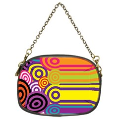Retro Circles And Stripes Colorful 60s And 70s Style Circles And Stripes Background Chain Purses (two Sides)