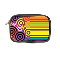 Retro Circles And Stripes Colorful 60s And 70s Style Circles And Stripes Background Coin Purse