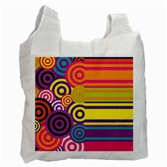 Retro Circles And Stripes Colorful 60s And 70s Style Circles And Stripes Background Recycle Bag (one Side)