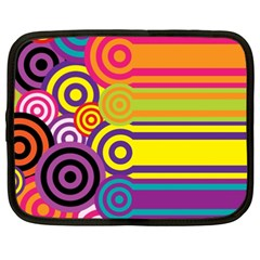 Retro Circles And Stripes Colorful 60s And 70s Style Circles And Stripes Background Netbook Case (xxl)