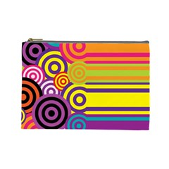 Retro Circles And Stripes Colorful 60s And 70s Style Circles And Stripes Background Cosmetic Bag (large)