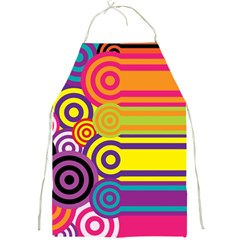 Retro Circles And Stripes Colorful 60s And 70s Style Circles And Stripes Background Full Print Aprons