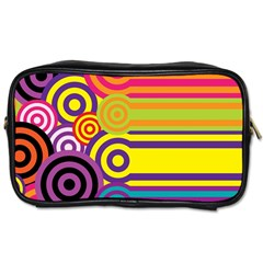 Retro Circles And Stripes Colorful 60s And 70s Style Circles And Stripes Background Toiletries Bags