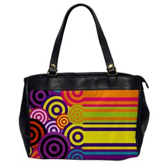 Retro Circles And Stripes Colorful 60s And 70s Style Circles And Stripes Background Office Handbags
