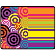 Retro Circles And Stripes Colorful 60s And 70s Style Circles And Stripes Background Fleece Blanket (medium)